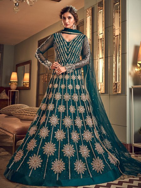 Teal Blue Net Embroidered Wedding Lawn Kameez