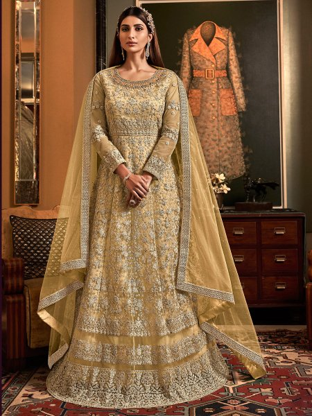 Flax Yellow Net Embroidered Wedding Lawn Kameez