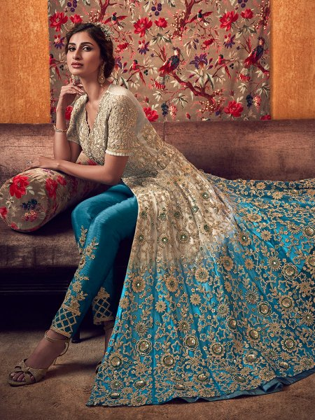 Beige Yellow and Cerulean Blue Net Embroidered Wedding Pant Kameez