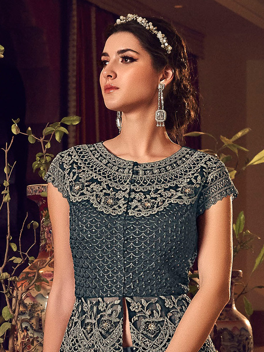 Dark Gray Net Embroidered Wedding Pant Kameez