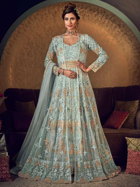 Tea Green Net Embroidered Wedding Lawn Kameez