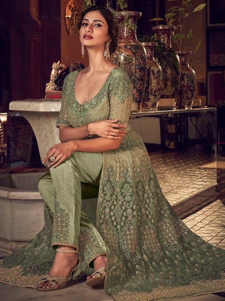Asparagus Green Net Embroidered Wedding Pant Kameez
