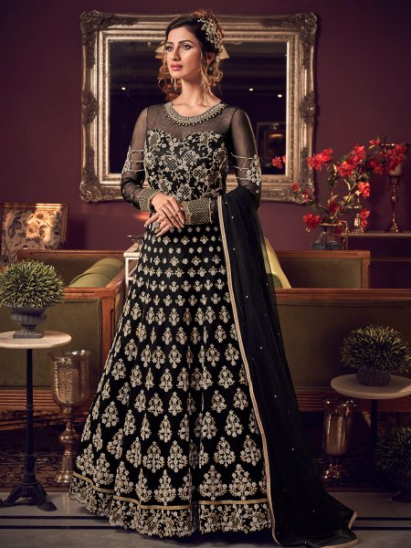 Black Net Embroidered Wedding Lawn Kameez