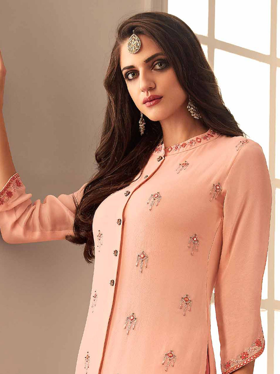 Coral Pink Upada Silk Embroidered Party Pant Kameez