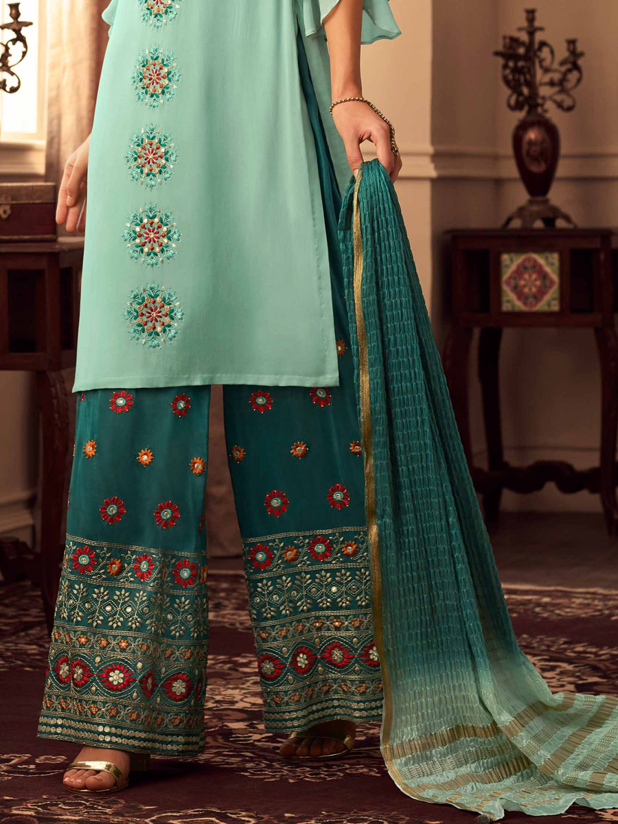 Turquoise Blue Upada Silk Embroidered Party Palazzo Pant Kameez