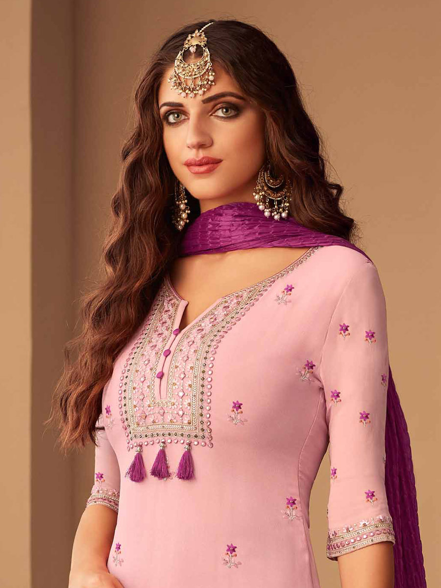 Thistle Violet Upada Silk Embroidered Party Pant Kameez