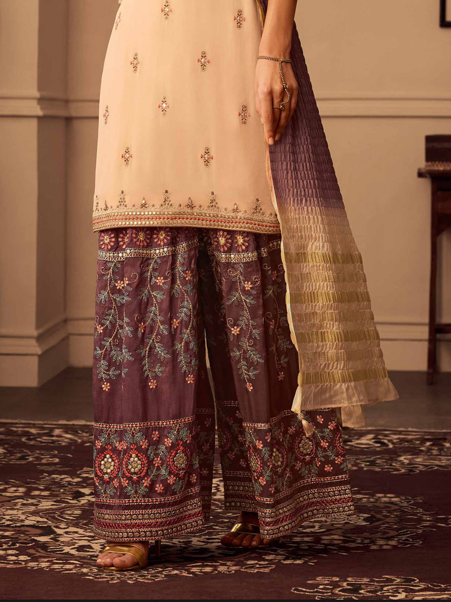 Beige Yellow Upada Silk Embroidered Party Palazzo Pant Kameez
