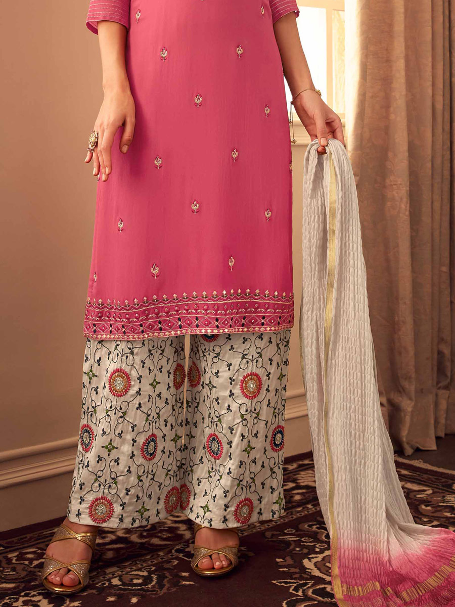 Salmon Pink Upada Silk Embroidered Party Pant Kameez
