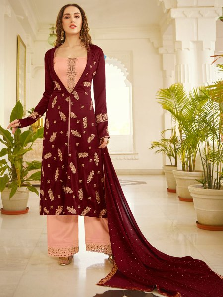 Salmon Orange and Wine Red Silk Embroidered Party Palazzo Pant Kameez