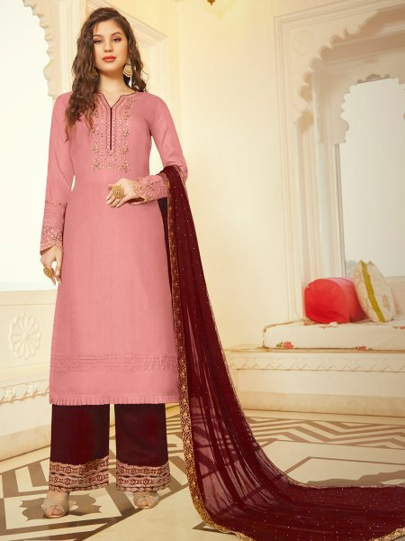 Light Thulian Pink Tussar Silk Embroidered Party Palazzo Pant Kameez