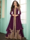 Byzantium Purple Faux Georgette Embroidered Party Lawn Kameez