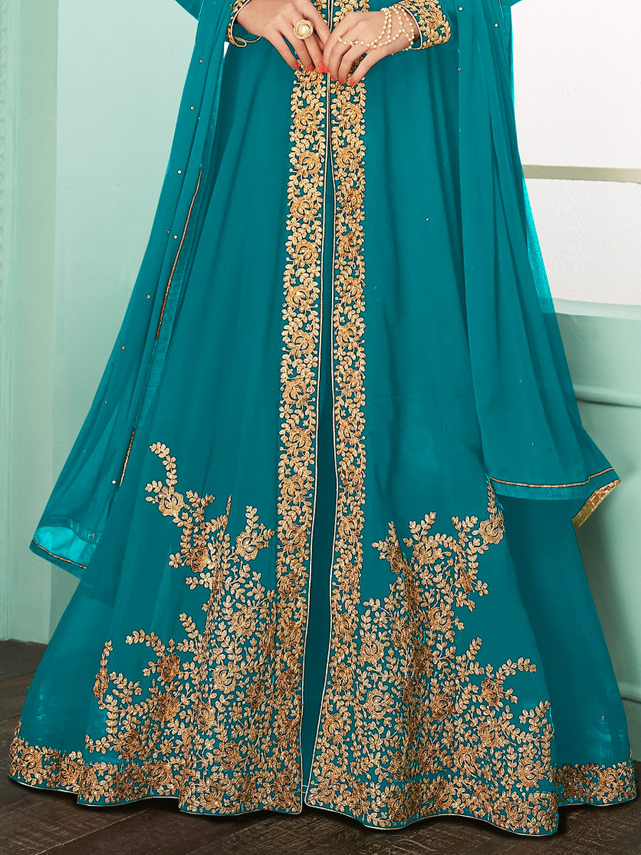 Robin-Egg Blue Faux Georgette Embroidered Party Lawn Kameez