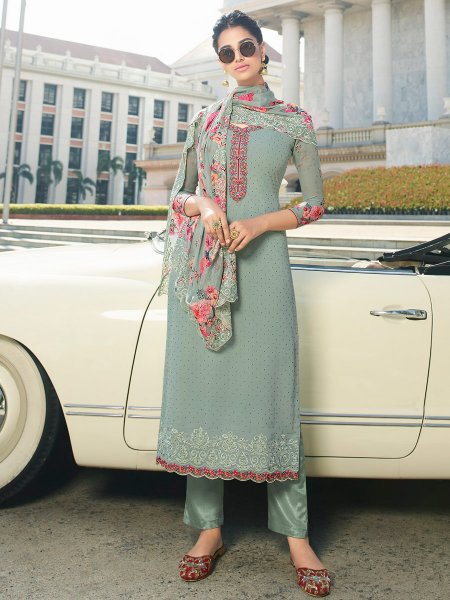 Turquoise Blue Faux Georgette Embroidered Party Pant Kameez