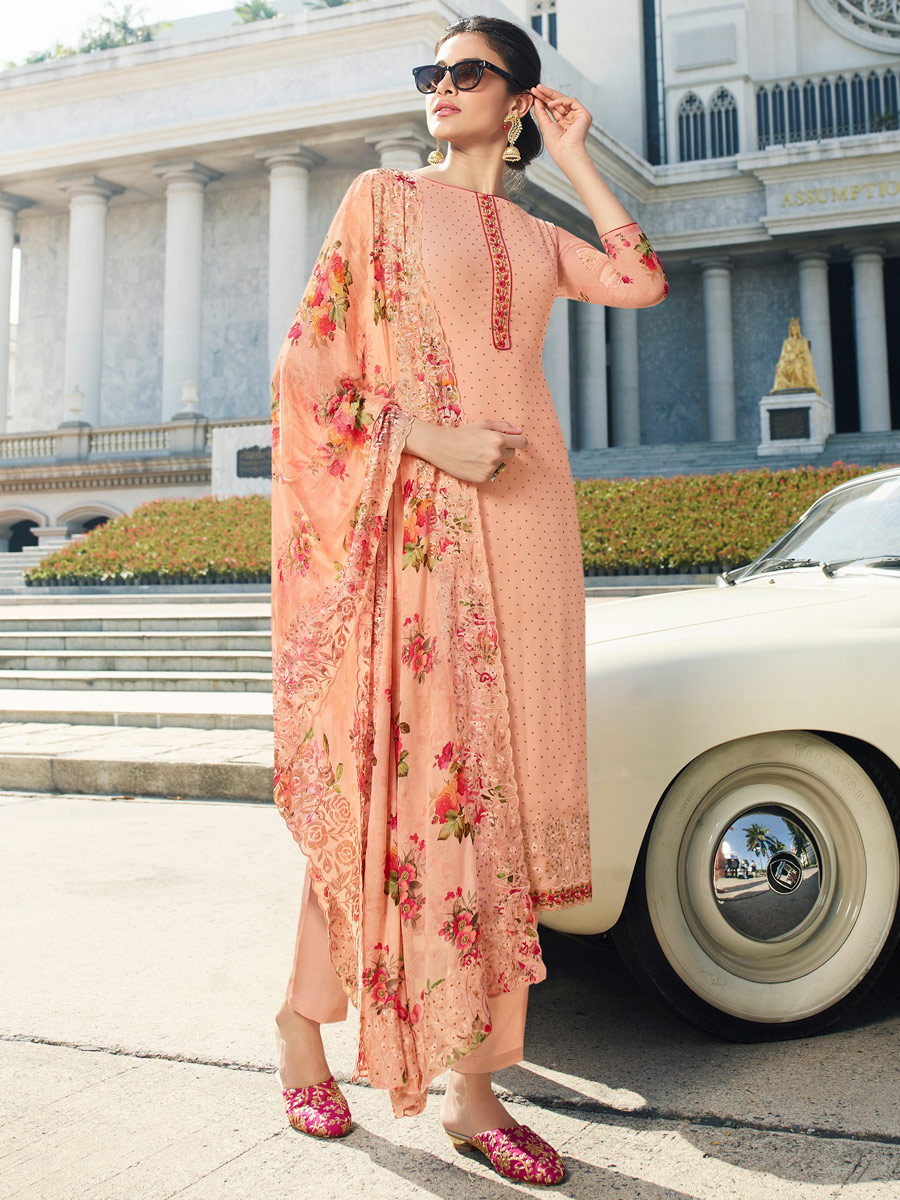 Coral Pink Faux Georgette Embroidered Party Pant Kameez