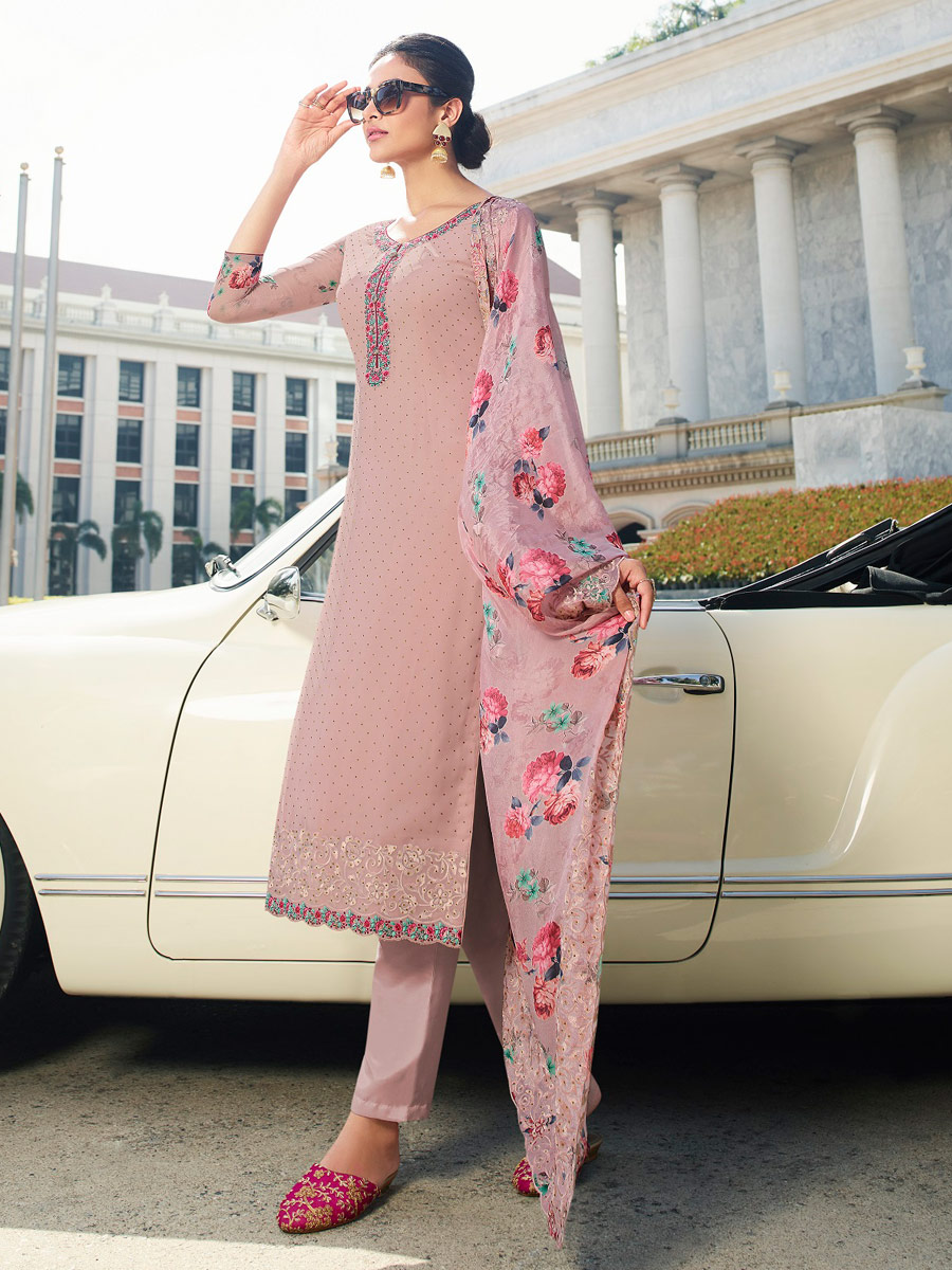 Light Thulian Pink Faux Georgette Embroidered Party Pant Kameez