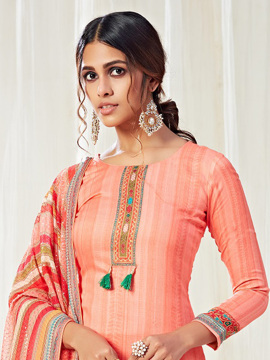 Coral Pink Cotton Printed Casual Pant Kameez
