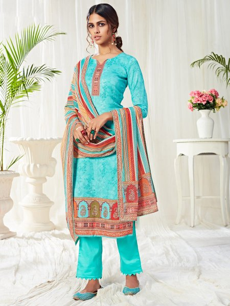 Robin-Egg Blue Cotton Printed Casual Pant Kameez