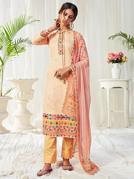 Flax Yellow Cotton Printed Casual Pant Kameez