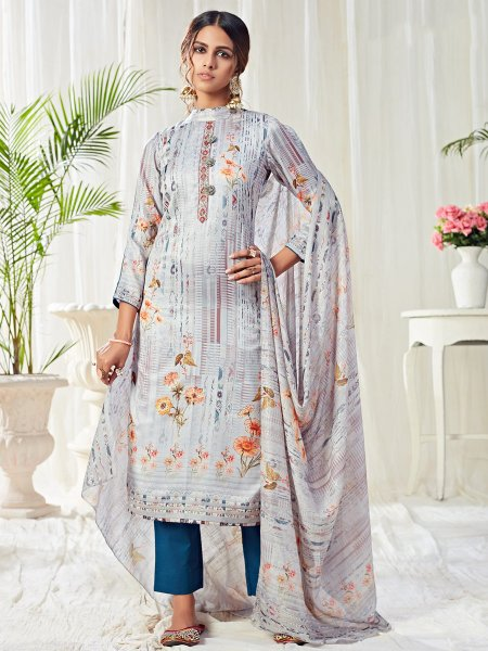 Carolina Blue Cotton Printed Casual Pant Kameez