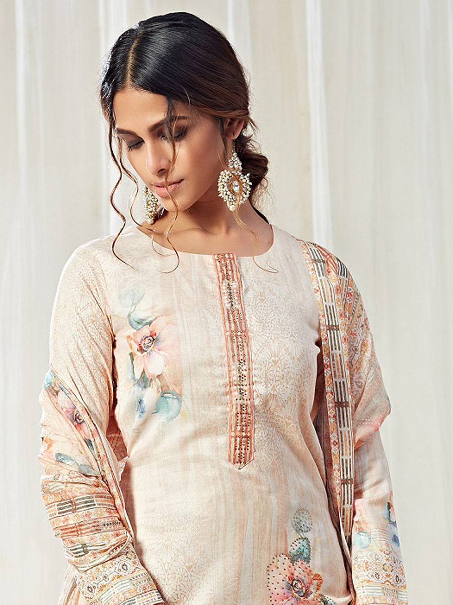 Beige Yellow Cotton Printed Casual Pant Kameez