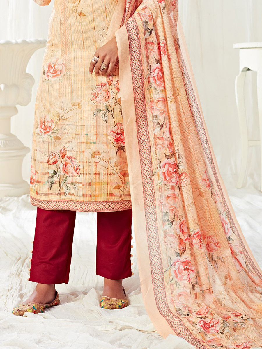 Cream Yellow Cotton Printed Casual Pant Kameez