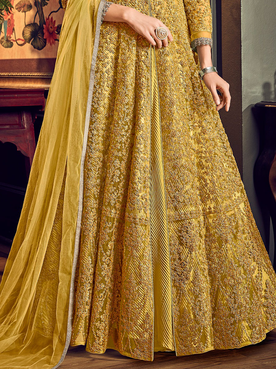 Mustard Yellow Net Embroidered Festival Lawn Kameez