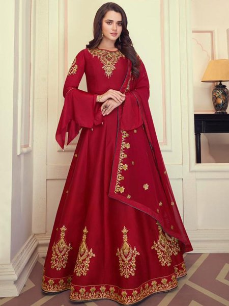 Maroon Muslin Silk Embroidered Wedding Lawn Kameez