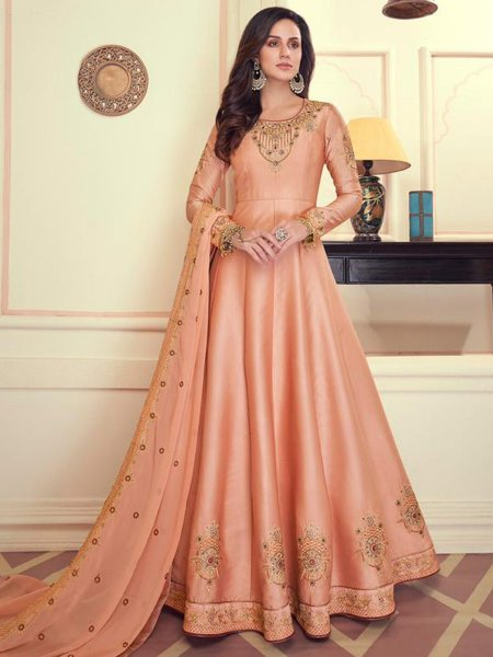 Coral Pink Muslin Silk Embroidered Wedding Lawn Kameez