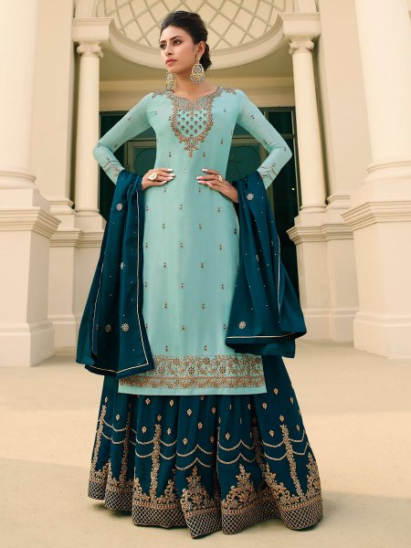 Sky Blue Chinnon Embroidered Festival Palazzo Pant Kameez