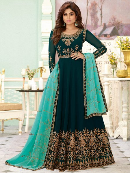 Teal Blue Faux Georgette Embroidered Festival Lawn Kameez