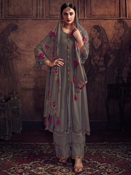 Dark Gray Faux Georgette Embroidered Festival Palazzo Pant Kameez
