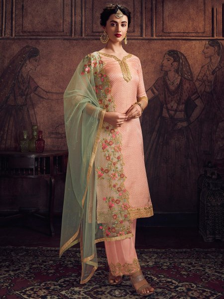 Coral Pink Jacquard Embroidered Festival Palazzo Pant Kameez