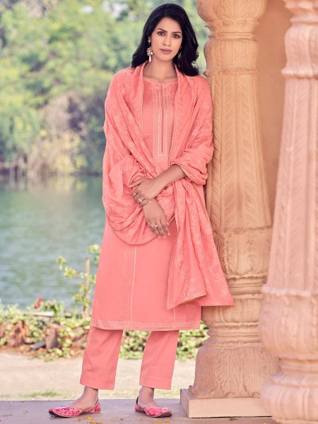 Coral Pink Muslin Embroidered Party Pant Kameez
