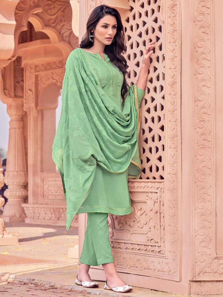 Light Green Muslin Embroidered Party Pant Kameez
