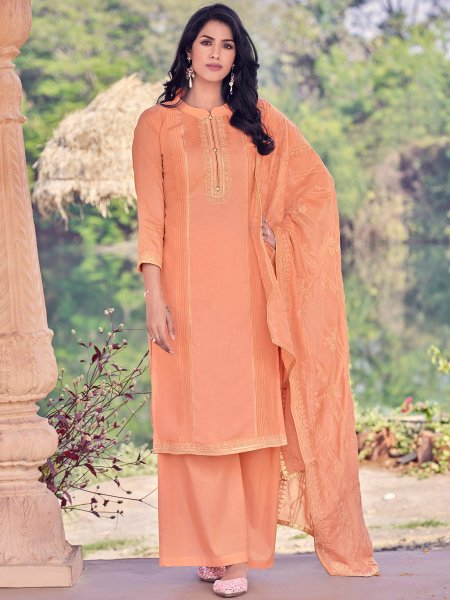 Pink-Orange Muslin Embroidered Party Palazzo Pant Kameez
