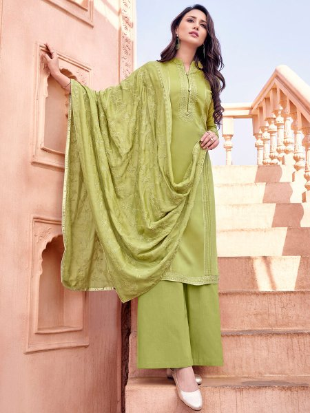 Olive Drab Green Muslin Embroidered Party Palazzo Pant Kameez