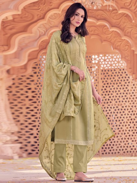 Asparagus Green Muslin Embroidered Party Pant Kameez