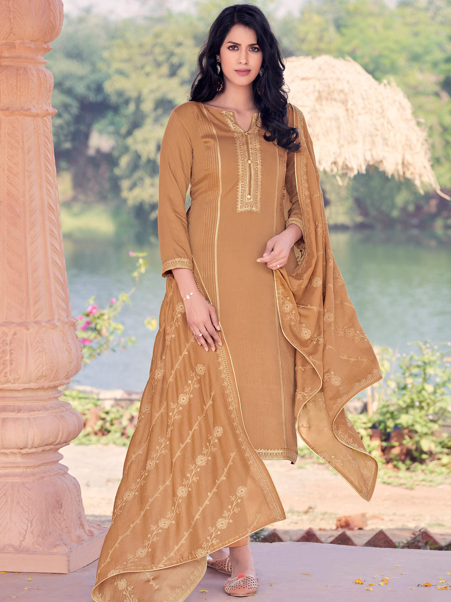 Light Brown Muslin Embroidered Party Pant Kameez