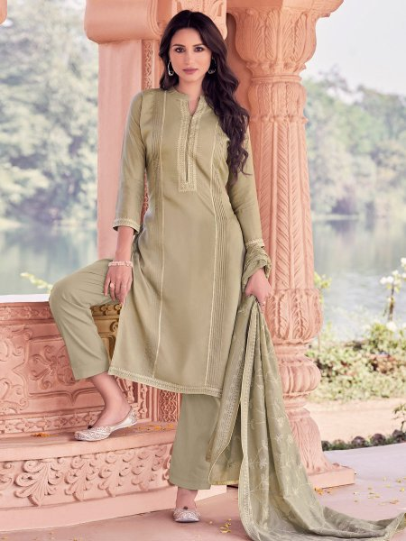 Ecru Brown Muslin Embroidered Party Pant Kameez