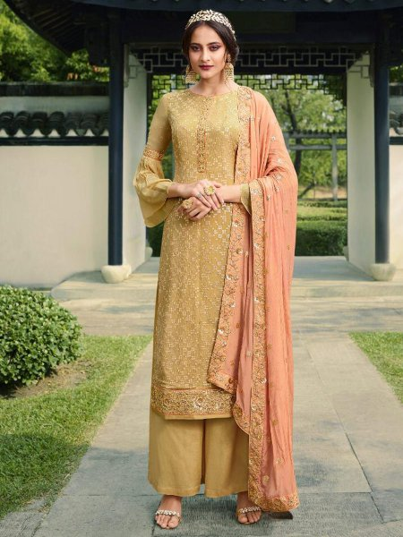 Beige Yellow Viscose Chinnon Embroidered Party Palazzo Pant Kameez