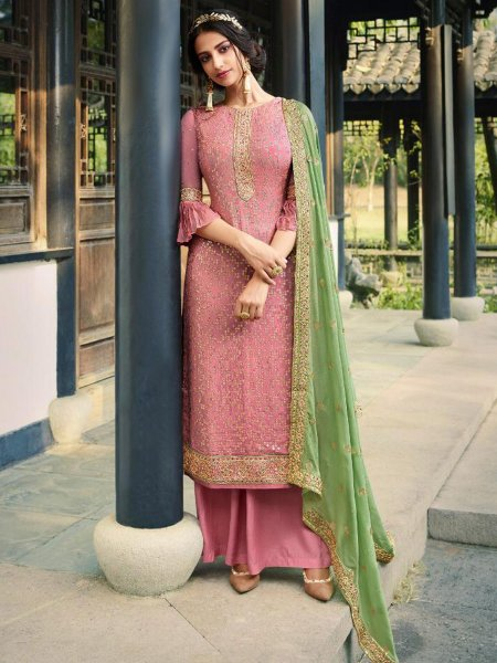 Salmon Pink Viscose Chinnon Embroidered Party Palazzo Pant Kameez