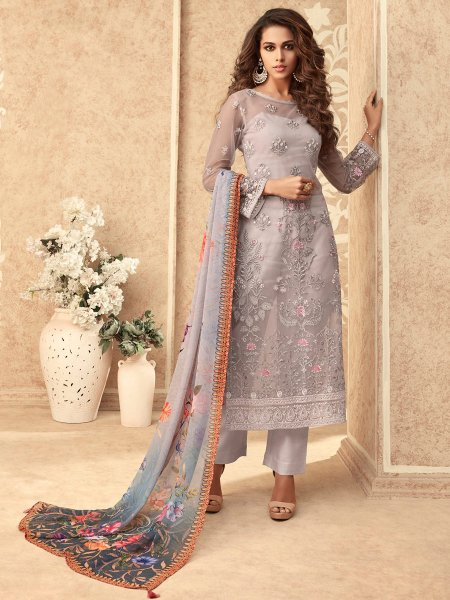 Lavender Violet Net Embroidered Party Pant Kameez