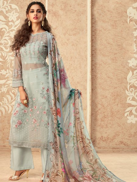 Light Blue Net Embroidered Party Pant Kameez