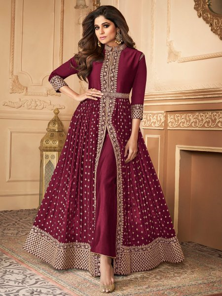 Wine Red Faux Georgette Embroidered Festival Lawn Kameez