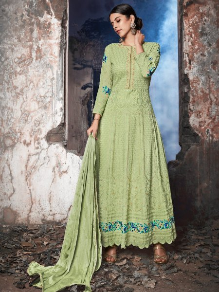 Moss Green Faux Georgette Embroidered Festival Lawn Kameez