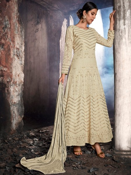 Cream Yellow Faux Georgette Embroidered Festival Lawn Kameez