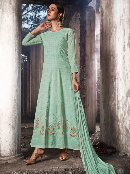 Turquoise Blue Faux Georgette Embroidered Festival Lawn Kameez