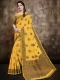 Saffron Yellow Banarasi Cotton Silk Handwoven Festival Saree
