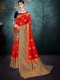 Vermilion Red Nylon Silk Handwoven Festival Saree