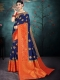 Navy Blue Nylon Silk Handwoven Festival Saree